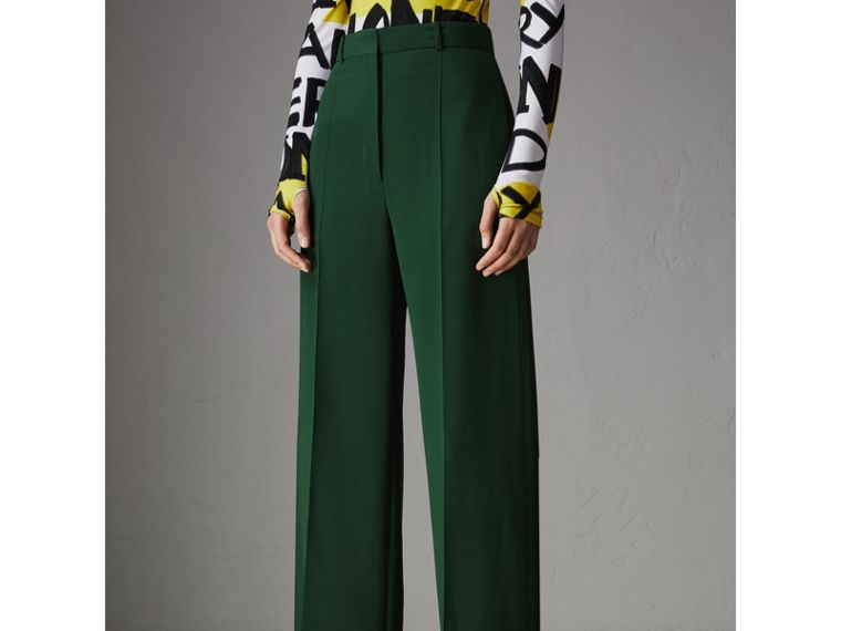 Silk Wool High-waisted Trousers in Dark Forest Green - Women | Burberry United States - cell image 4