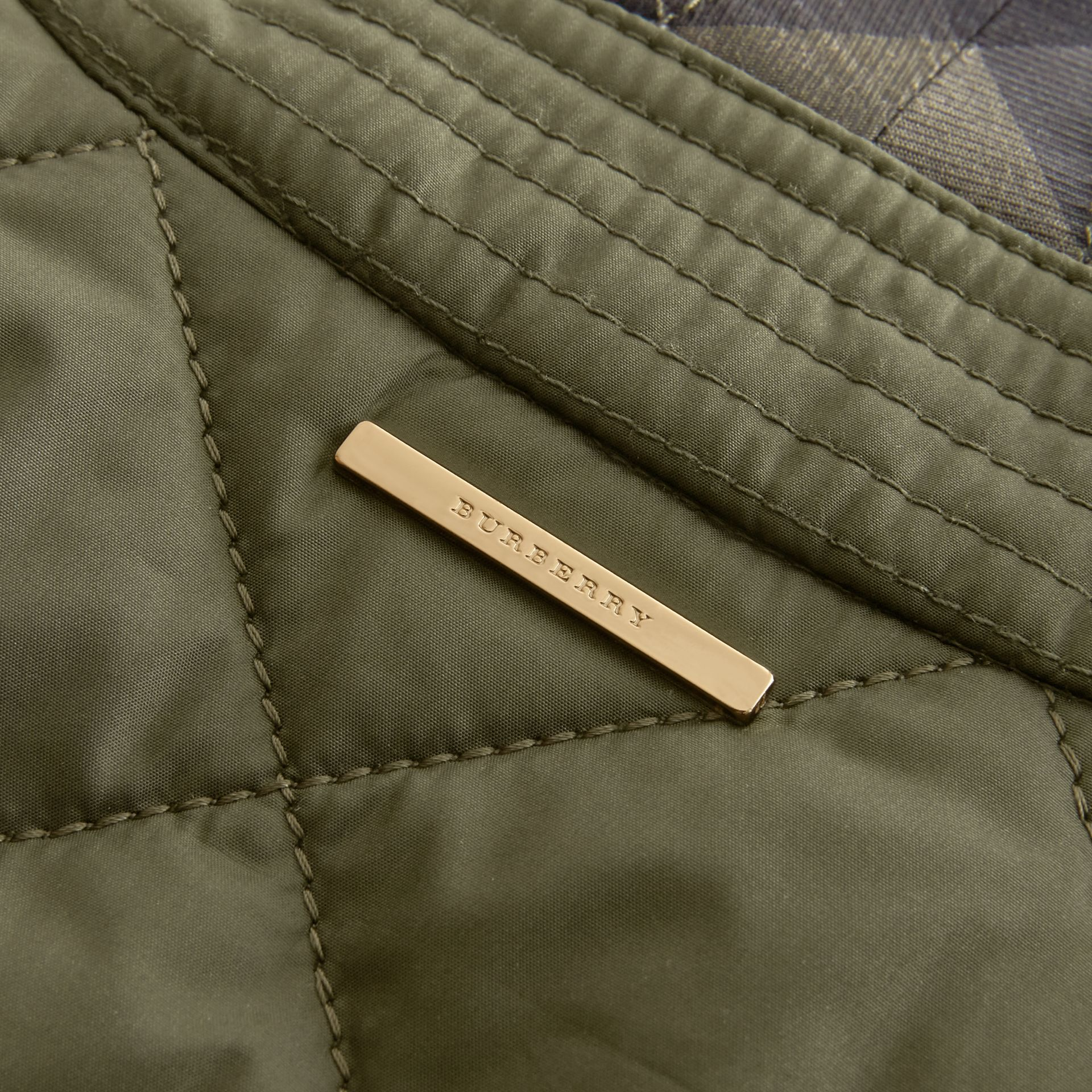Check Detail Diamond Quilted Jacket Military Green - gallery image 2