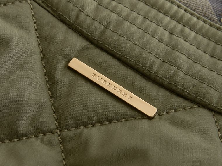 Check Detail Diamond Quilted Jacket Military Green - cell image 1
