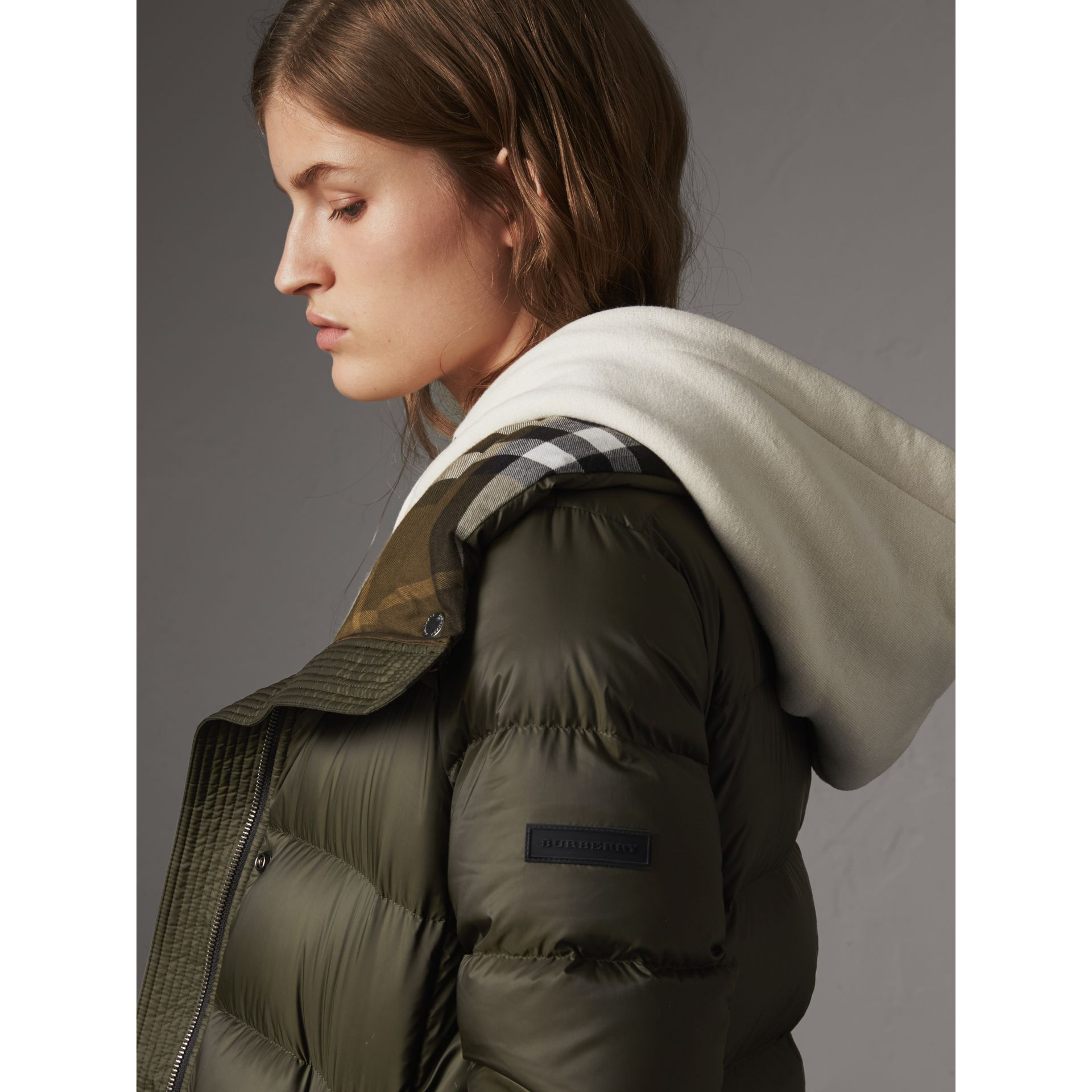 Detachable Hooded Down-filled Puffer Coat in Olive - Women | Burberry - gallery image 5