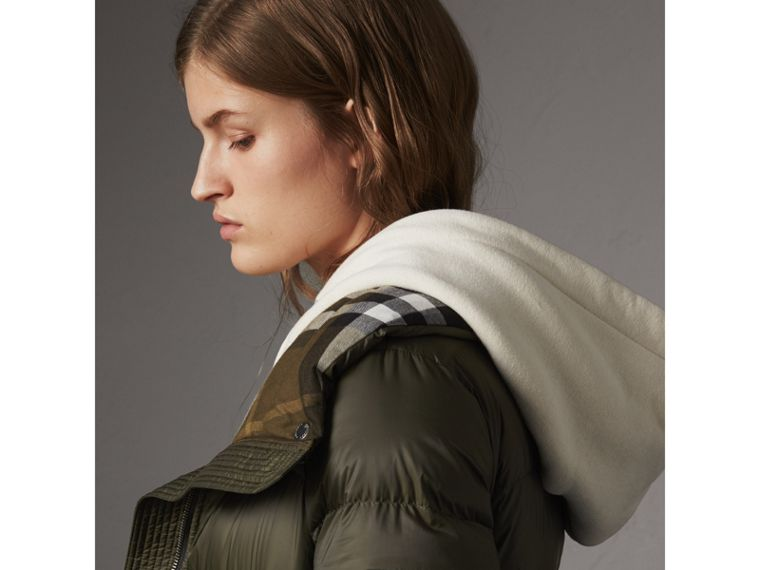 Detachable Hooded Down-filled Puffer Coat in Olive - Women | Burberry - cell image 4