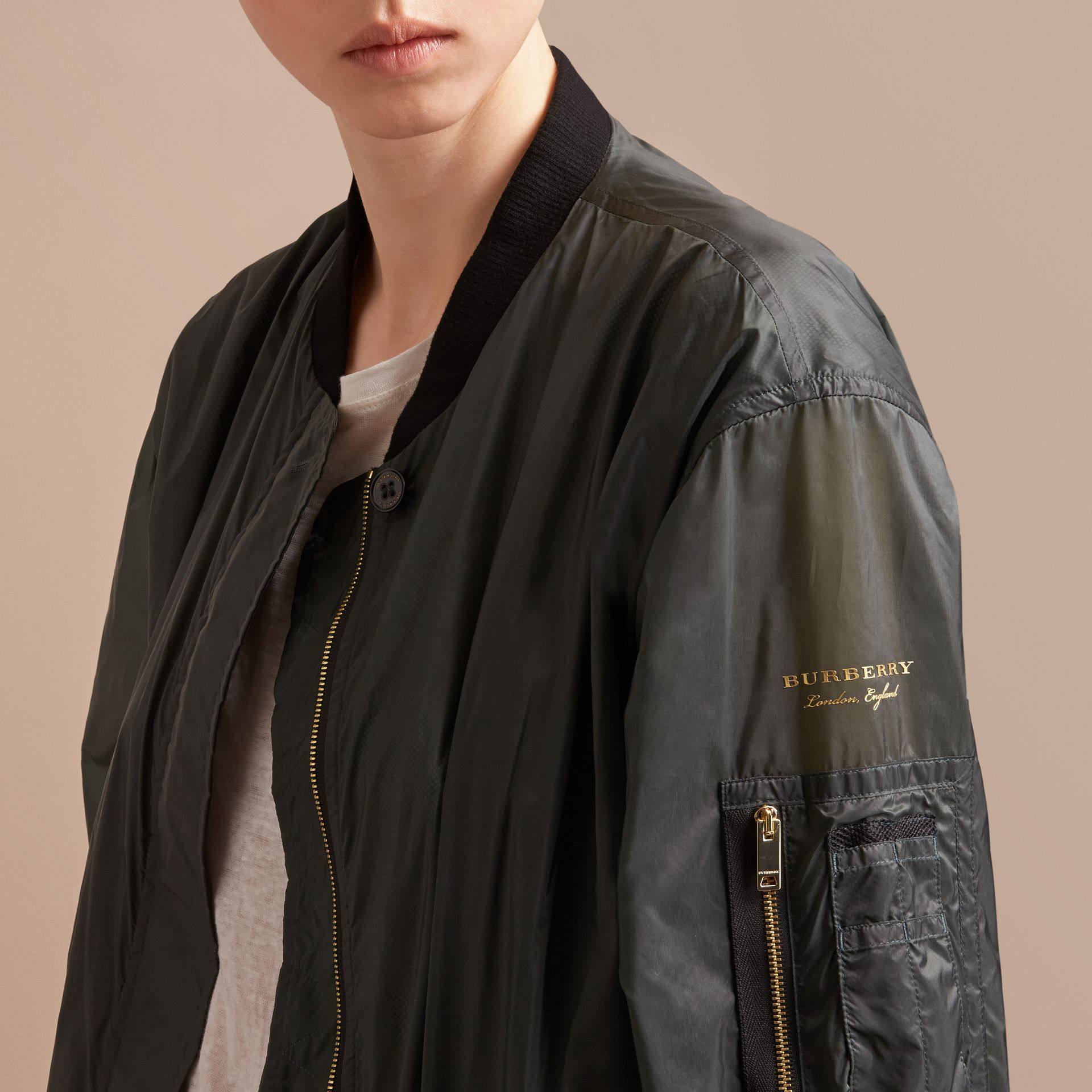 Lightweight Bomber Jacket in Vintage Green - gallery image 2