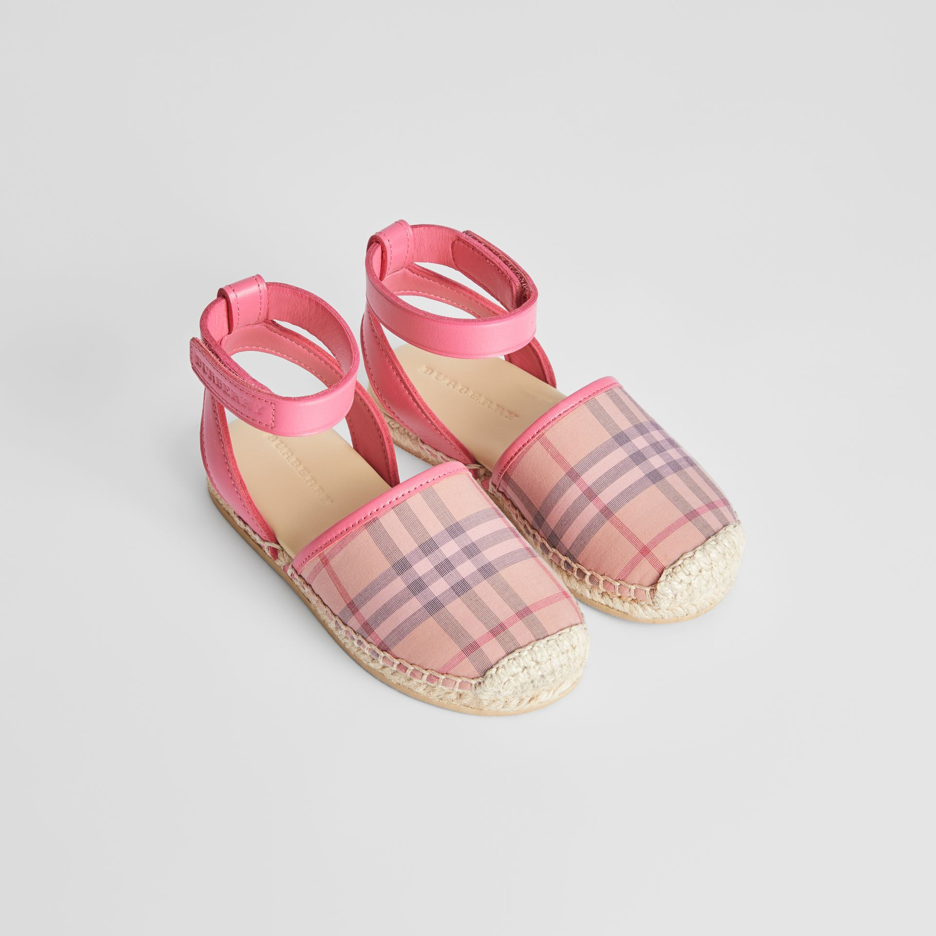 Check and Leather Espadrille Sandals in Bright Rose | Burberry - gallery image 0