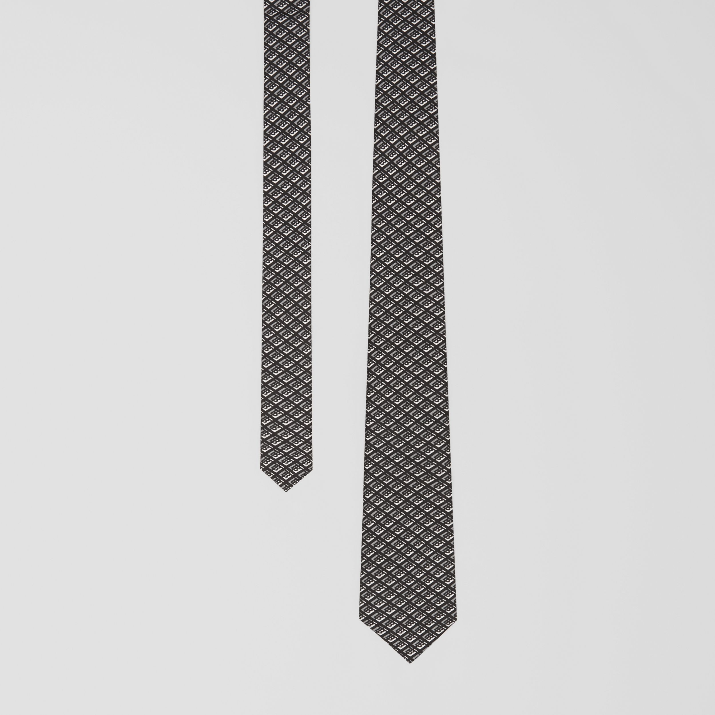 Classic Cut Logo Graphic Silk Tie in Mid Grey - Men | Burberry - 1