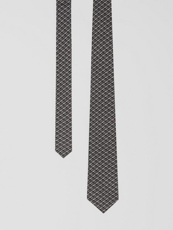 Classic Cut Logo Graphic Silk Tie in Mid Grey