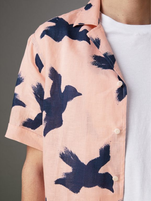 Short-sleeve Bird Print Linen Shirt in Apricot Pink - Men | Burberry - cell image 1