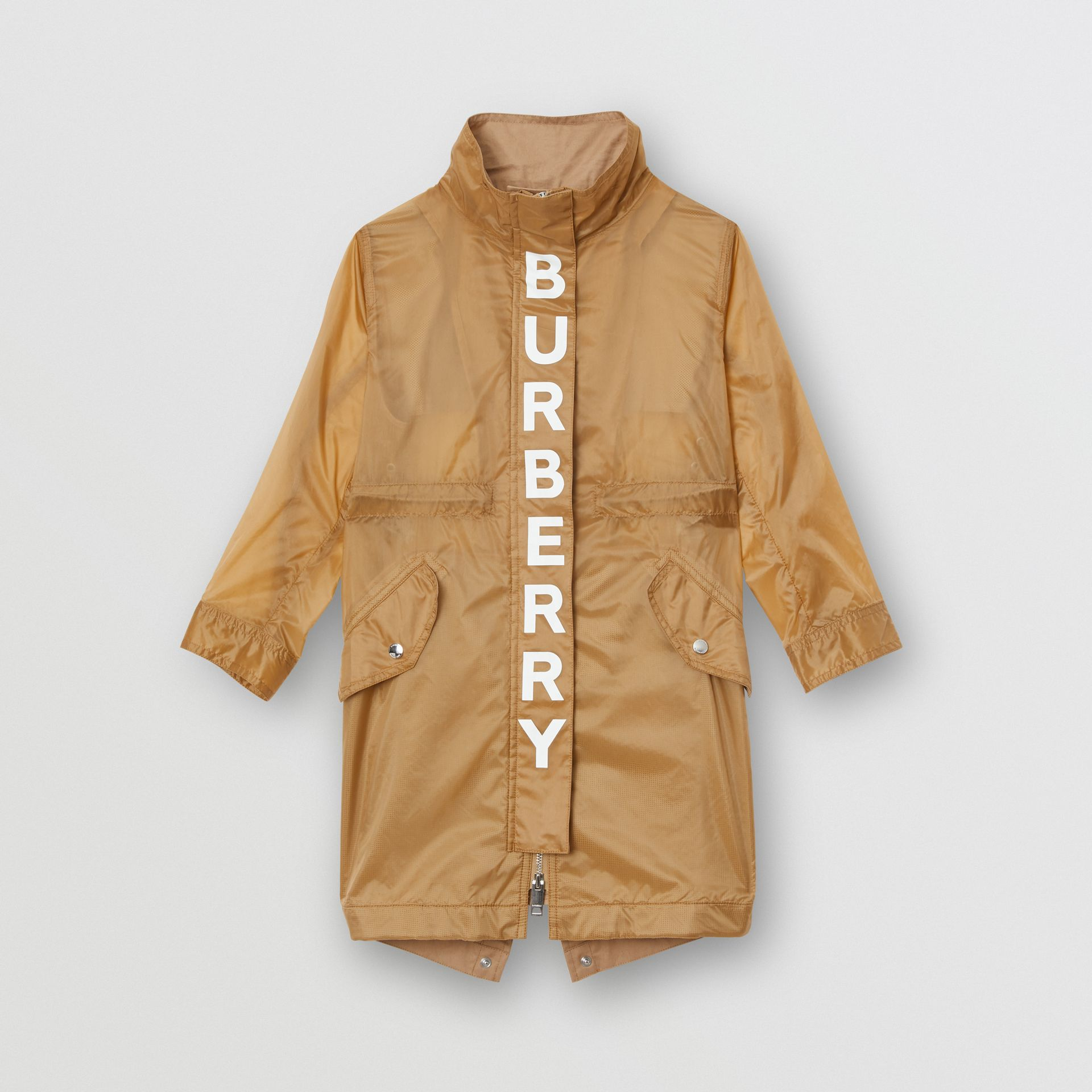 Detachable Hood Logo Print Lightweight Parka in Honey | Burberry - gallery image 0