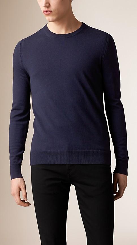 Navy Check Detail Merino Wool Sweater - Image 1