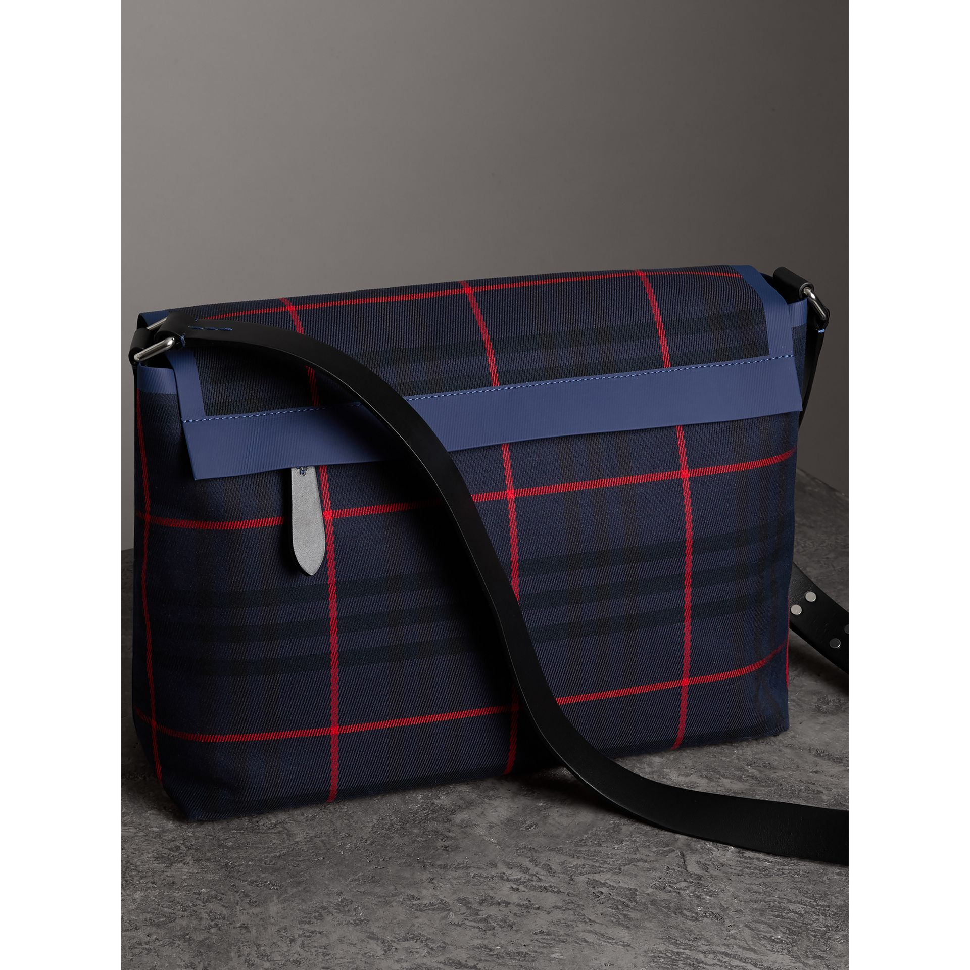 Large Tartan Cotton Messenger Bag in Deep Navy | Burberry - gallery image 4
