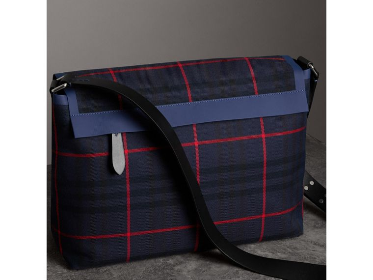Large Tartan Cotton Messenger Bag in Deep Navy | Burberry - cell image 4