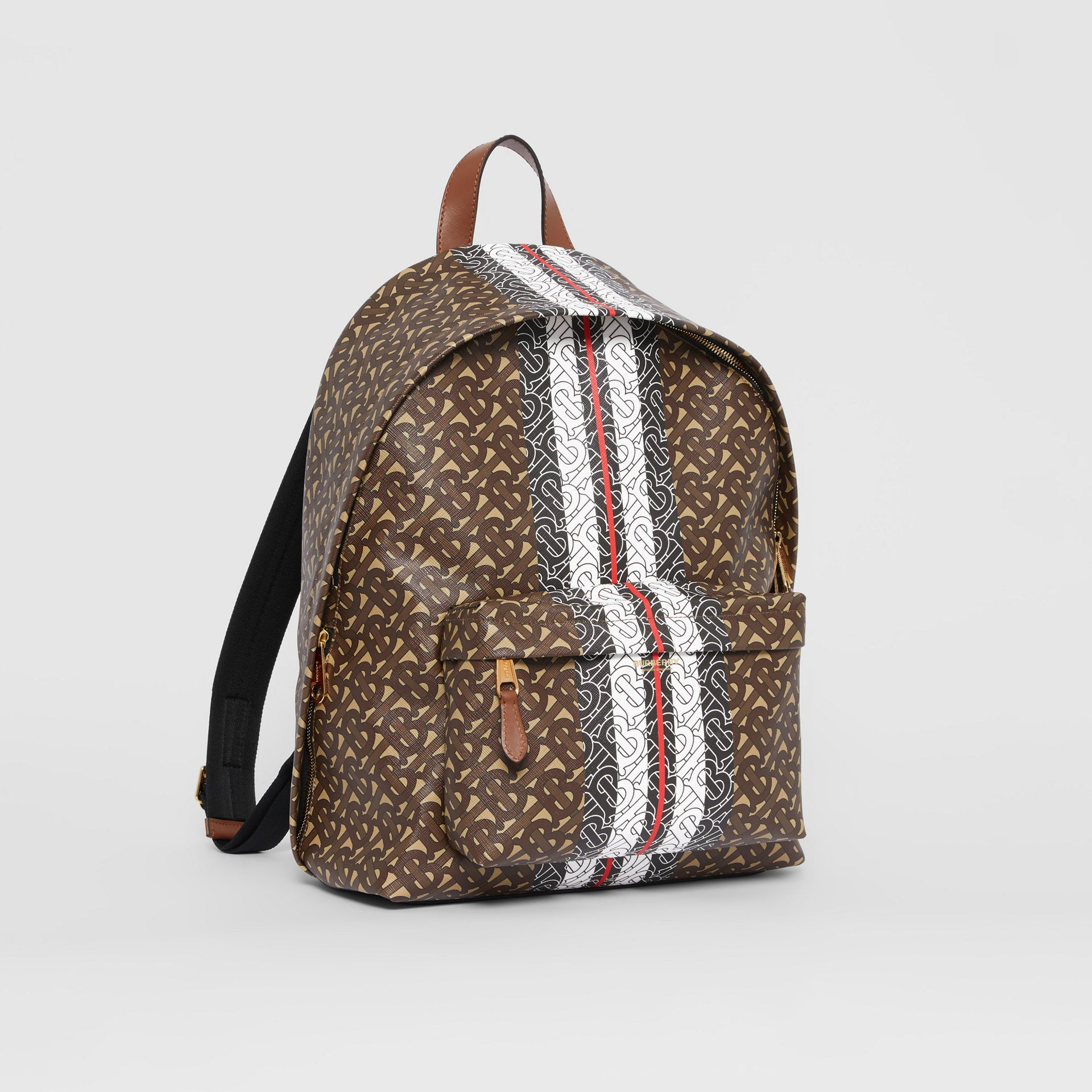 Monogram Stripe Print E-canvas Backpack in Bridle Brown | Burberry Australia - gallery image 8