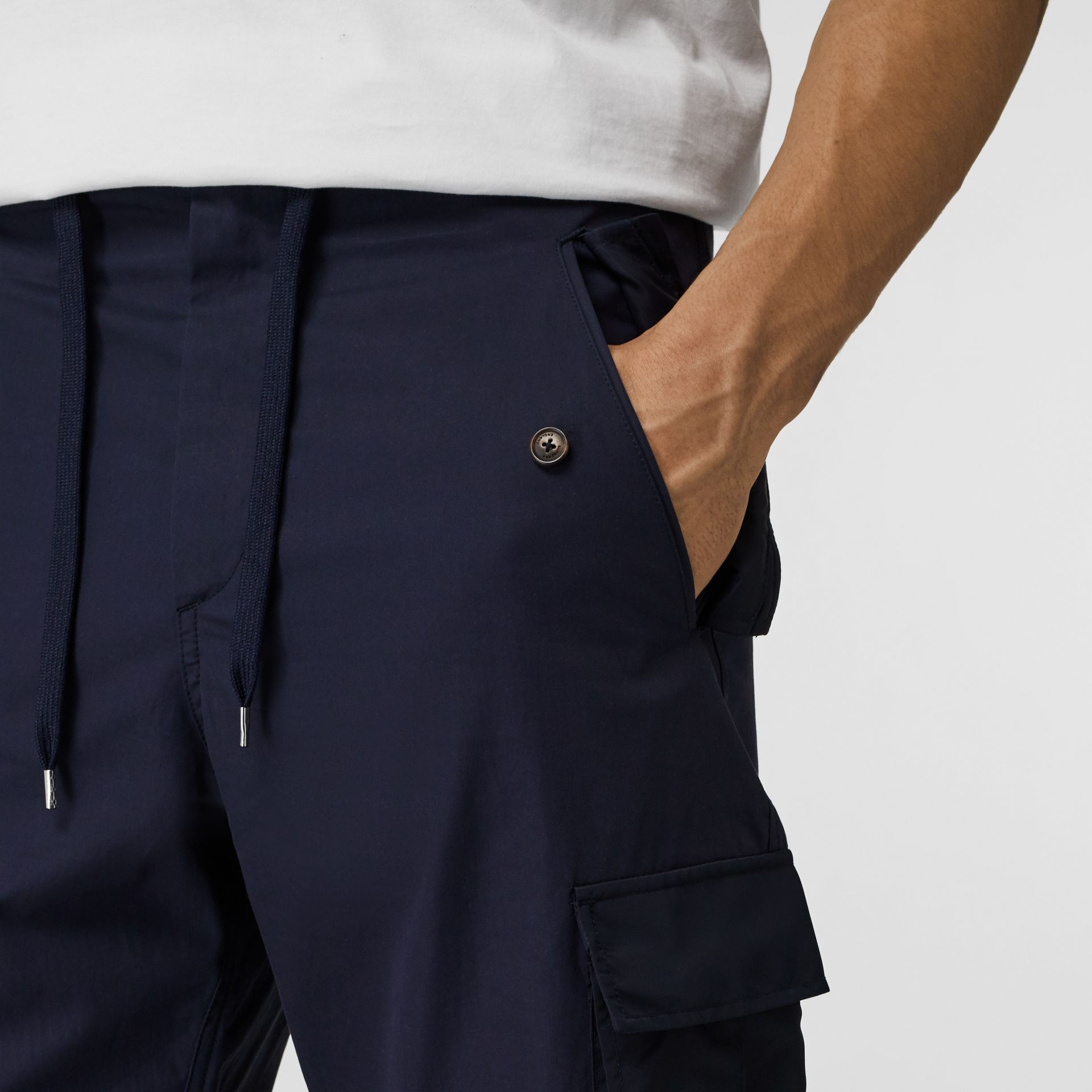 Cotton Tapered Cargo Trousers in Navy - Men | Burberry - gallery image 1