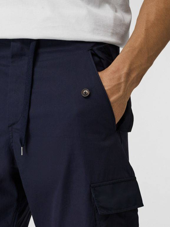 Cotton Tapered Cargo Trousers in Navy - Men | Burberry United Kingdom - cell image 1