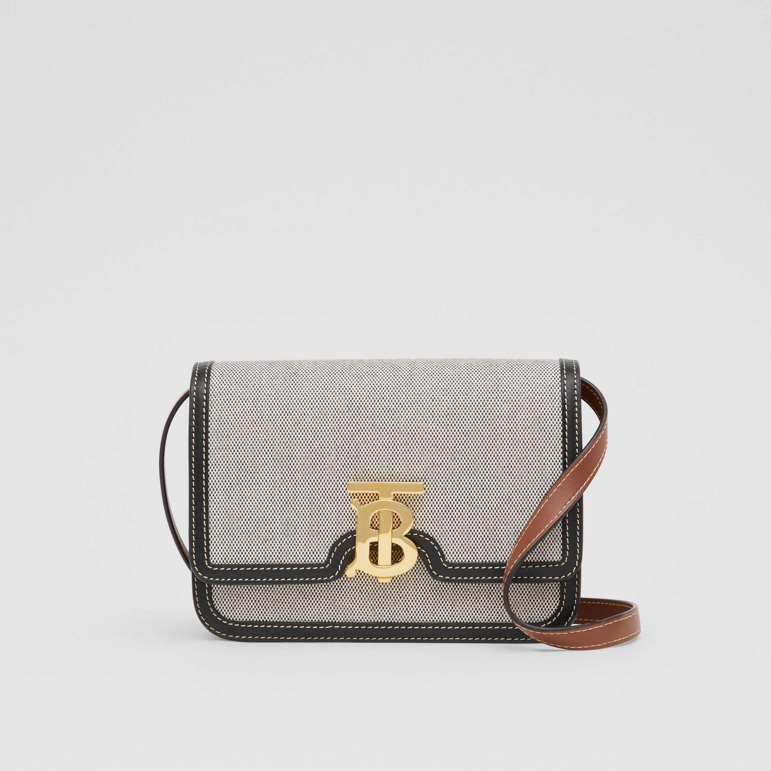 Small Tri-tone Canvas and Leather TB Bag in Black/tan - Women | Burberry - 1
