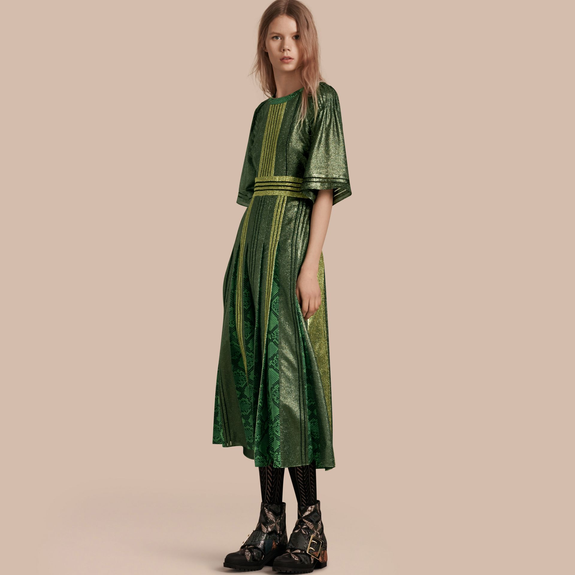 Sage Long Lamé and Python Print Dress Sage - gallery image 1