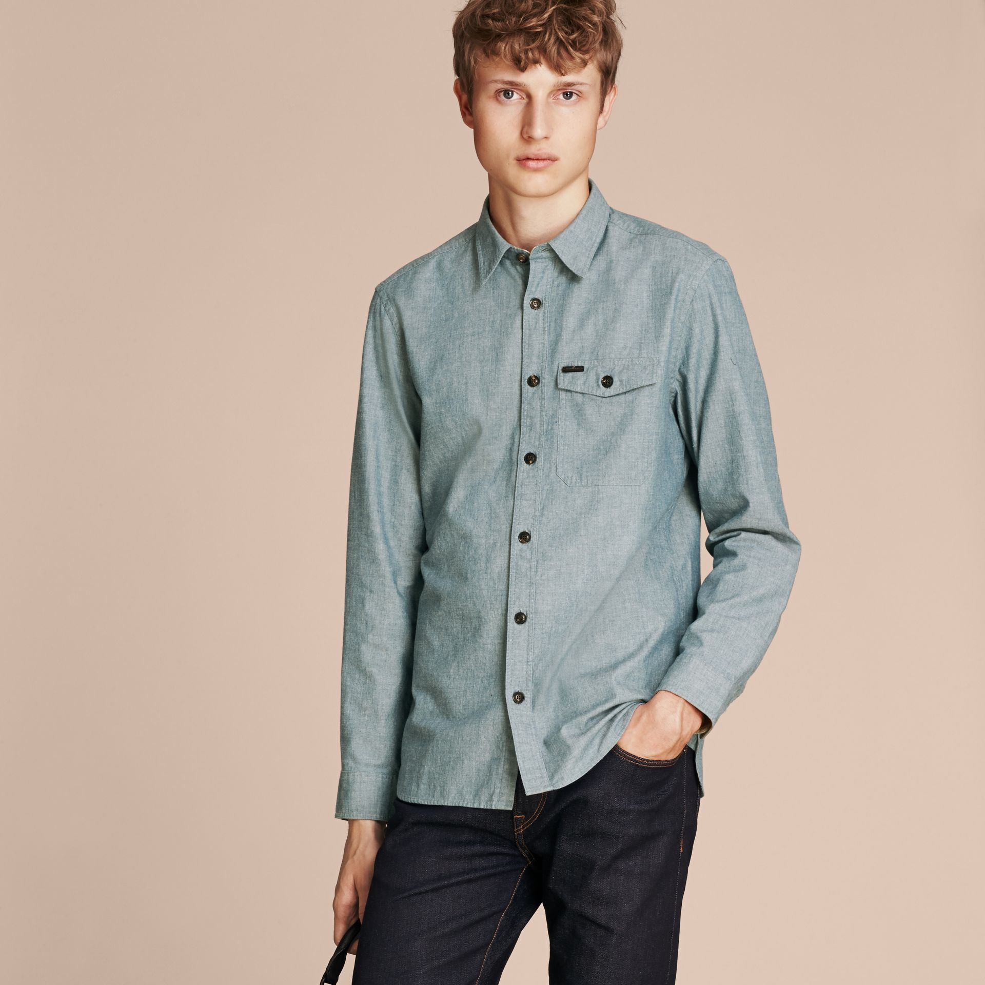 Mineral blue Chambray Cotton Shirt - gallery image 6