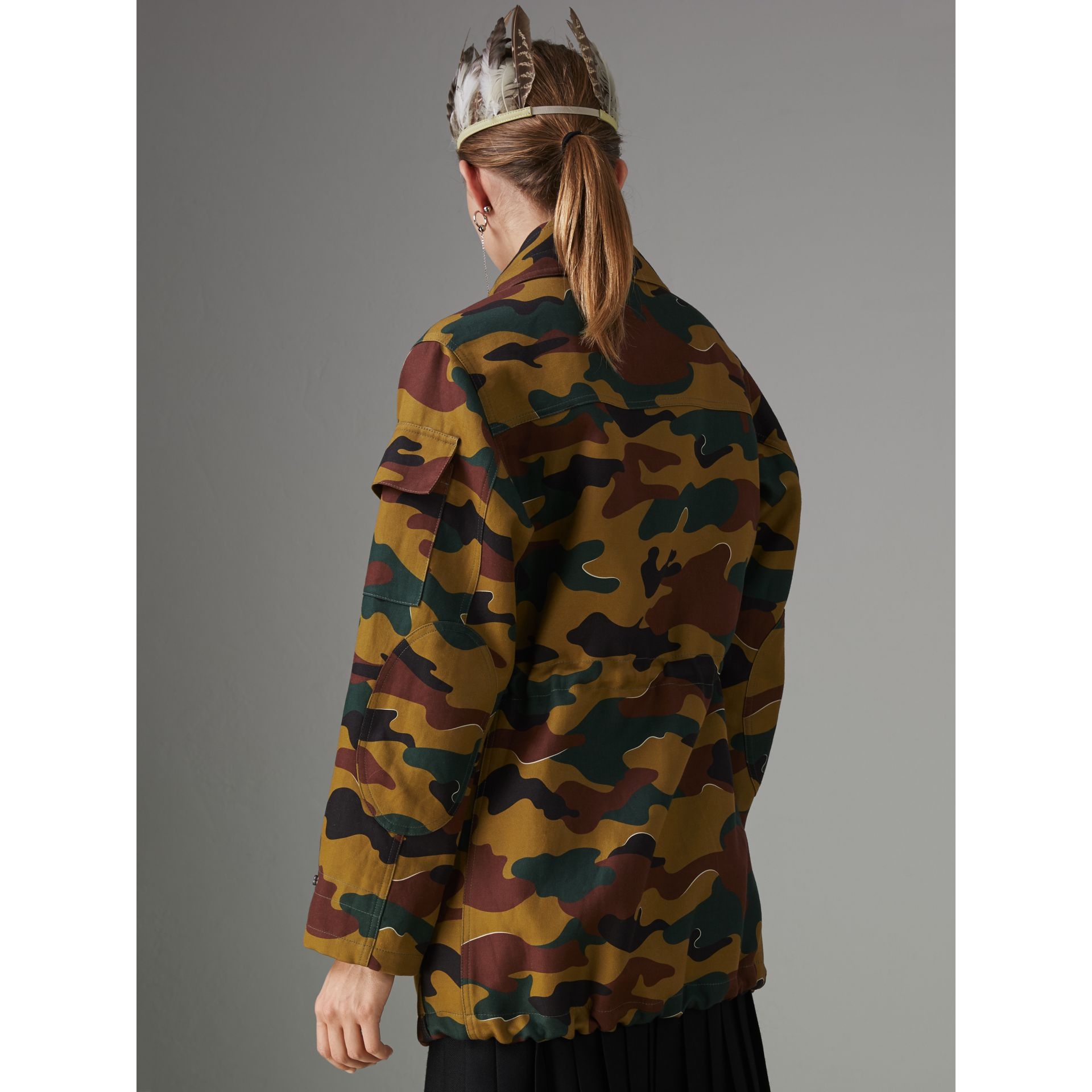Boyfriend Fit Camouflage Print Jacket in Ochre Green - Women | Burberry Australia - gallery image 2