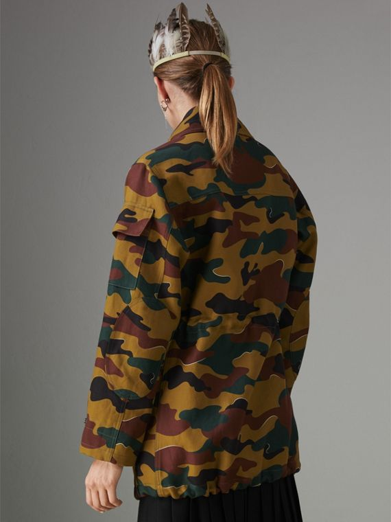 Boyfriend Fit Camouflage Print Jacket in Ochre Green - Women | Burberry Australia - cell image 2