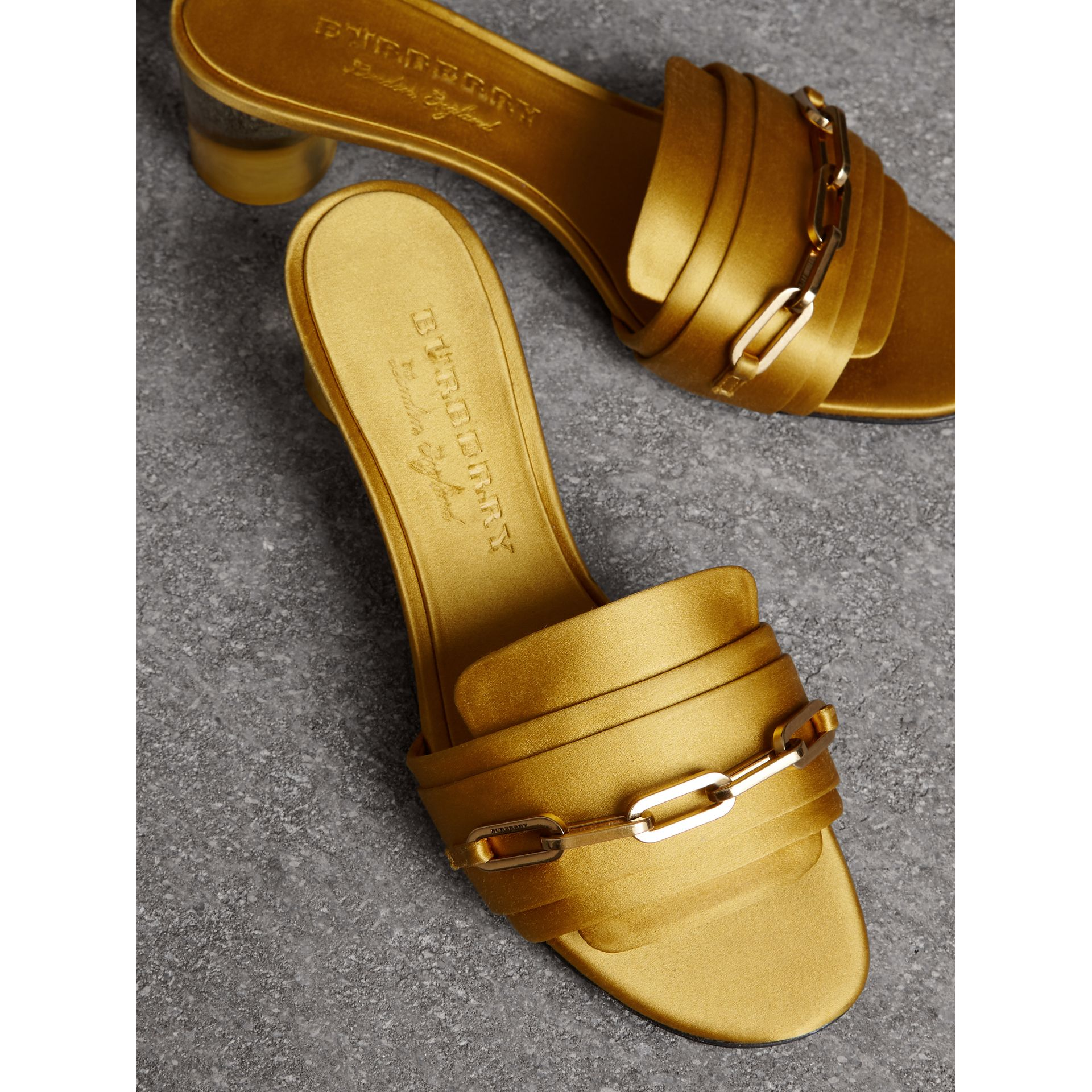 Link Detail Satin Heeled Slides in Antique Yellow - Women | Burberry - gallery image 4
