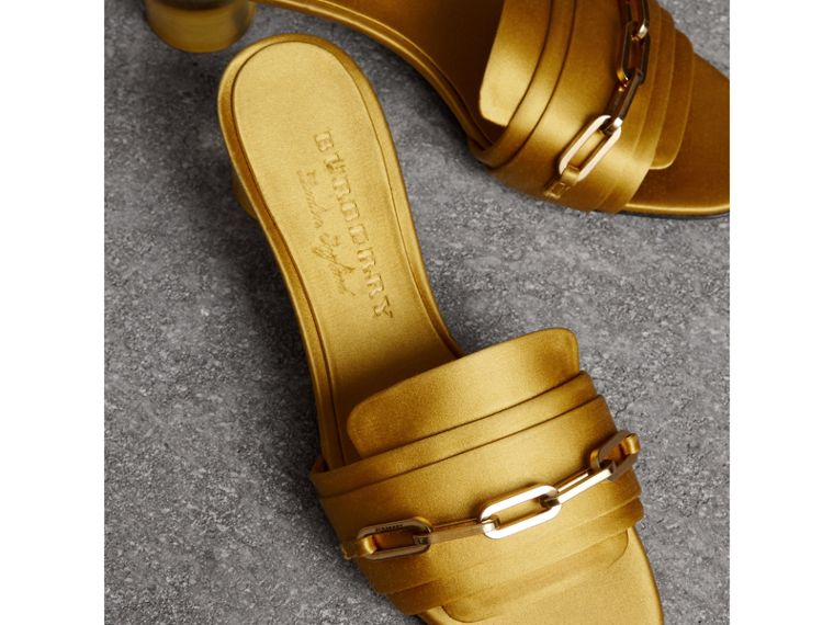 Link Detail Satin Heeled Slides in Antique Yellow - Women | Burberry United Kingdom - cell image 4