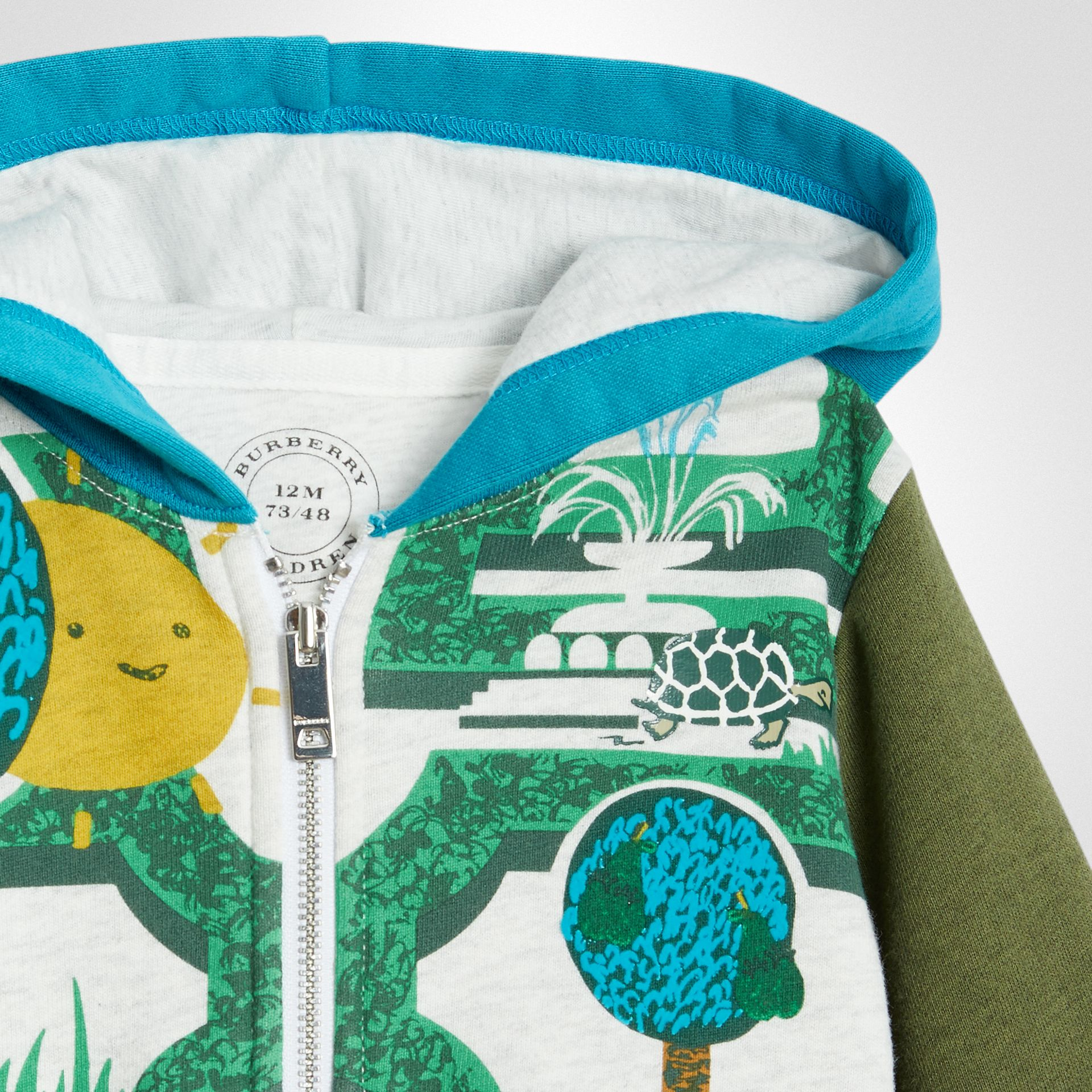 Hedge Maze Print Cotton Hooded Top in Multicolour - Children | Burberry - gallery image 4