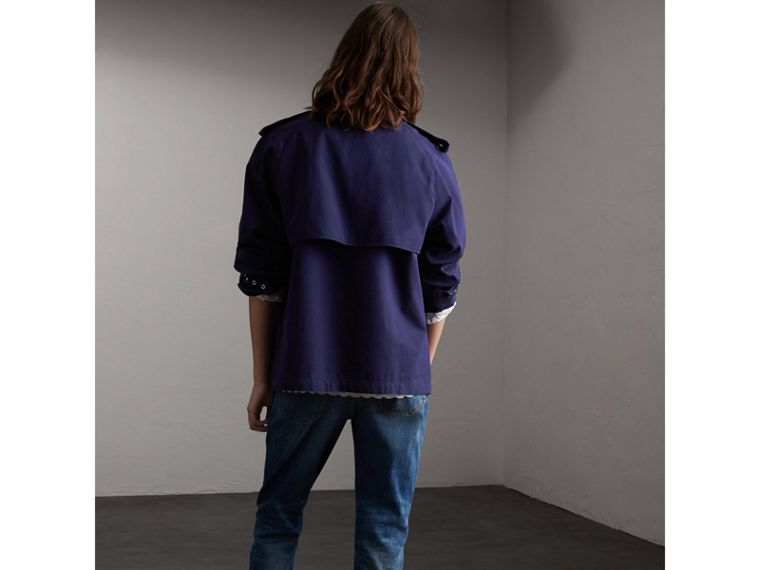 Unisex Tropical Gabardine Trench Jacket in Blueberry - cell image 1