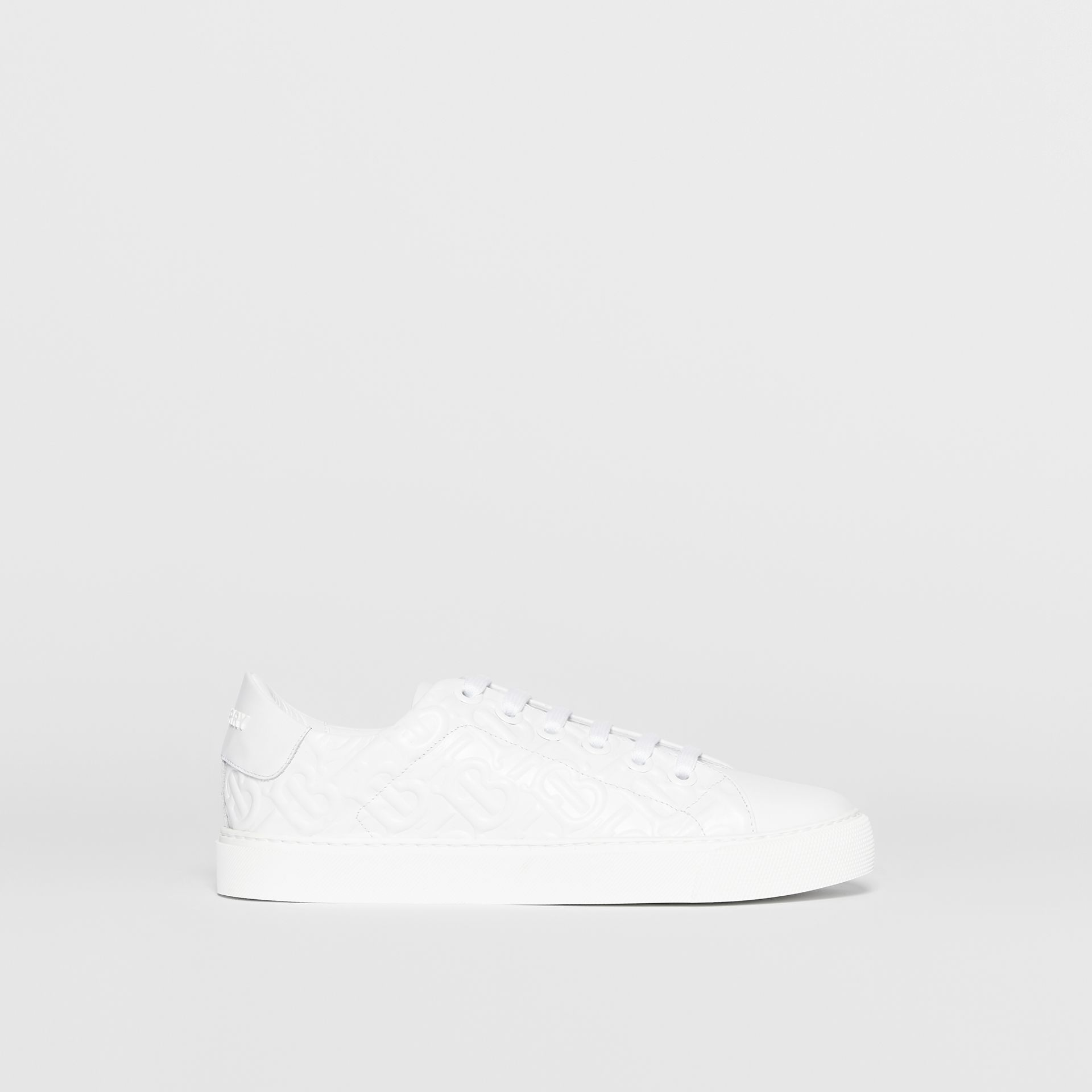 Monogram Leather Sneakers in White - Women | Burberry United States - gallery image 5