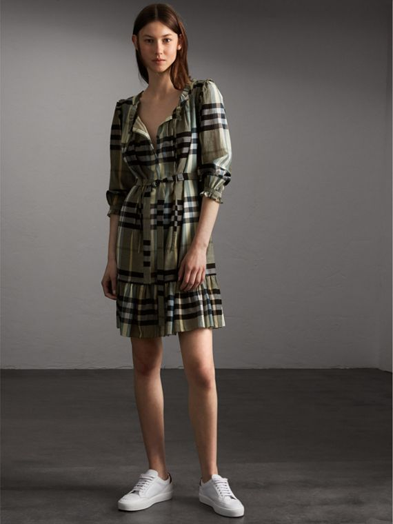 Ruffle Detail Check Cotton Dress - Women | Burberry Canada