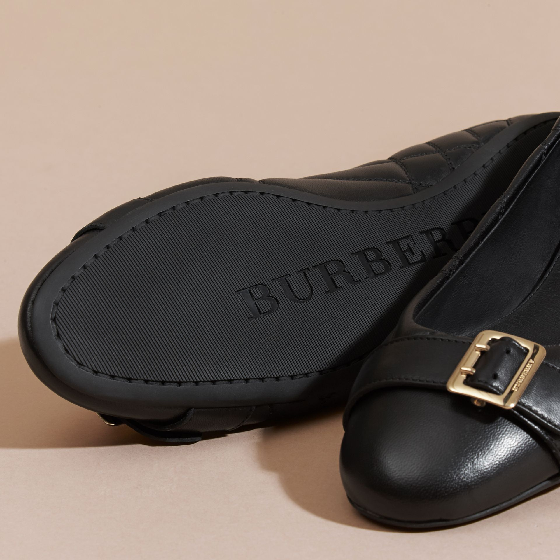 Black Buckle Detail Quilted Lambskin Ballerinas - gallery image 5