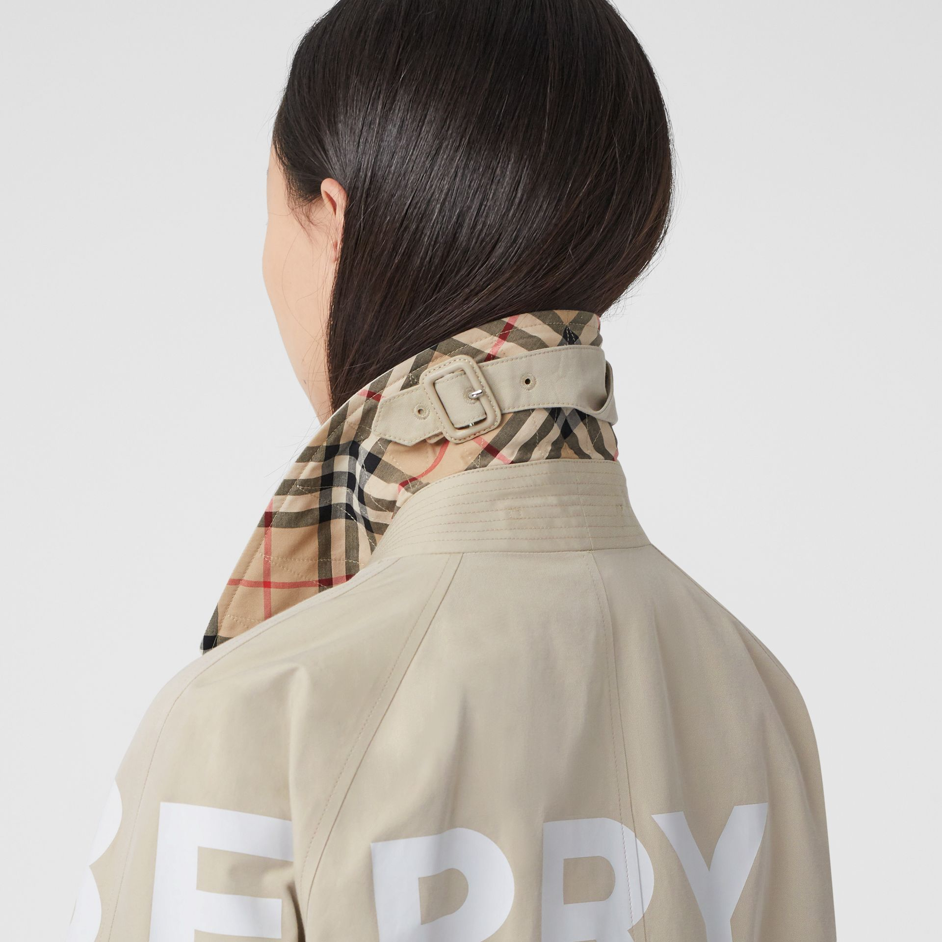 Horseferry Print Cotton Gabardine Car Coat in Stone - Women | Burberry - gallery image 4