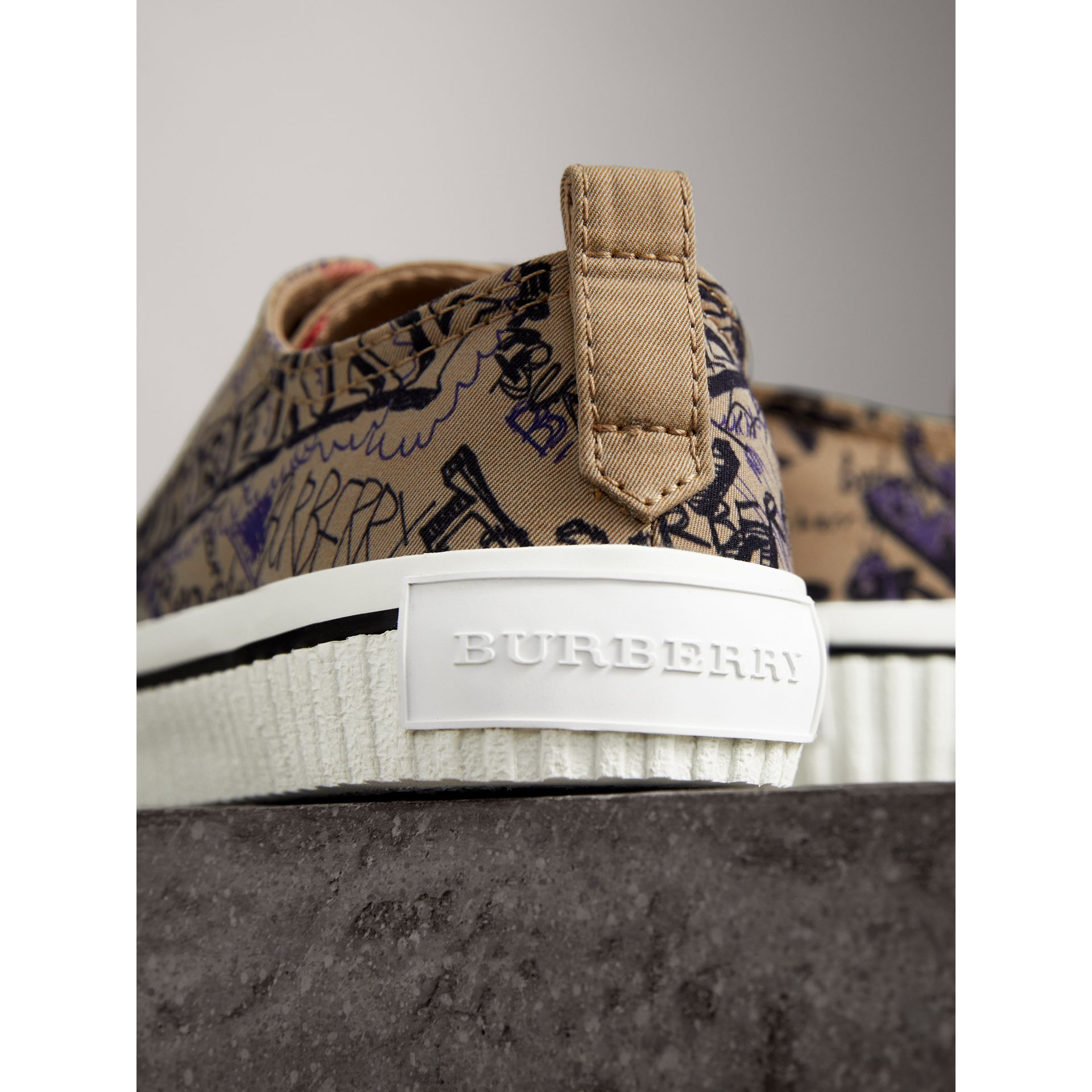 Doodle Print Cotton Gabardine Trainers in Honey - Women | Burberry - gallery image 2