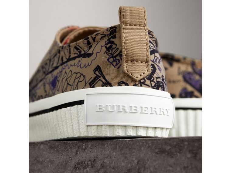 Doodle Print Cotton Gabardine Trainers in Honey - Women | Burberry - cell image 1