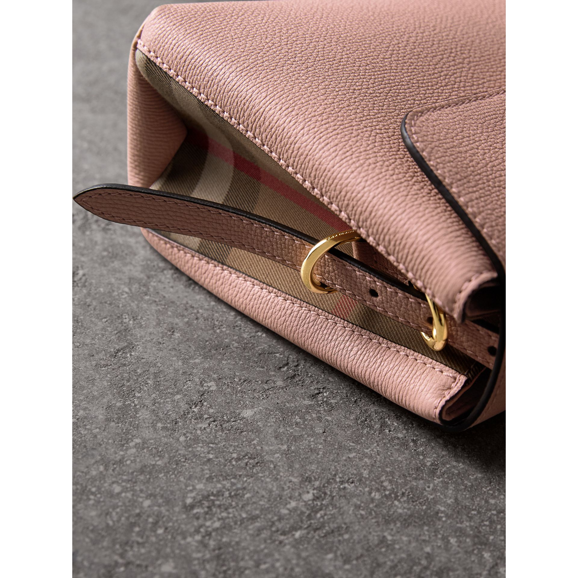 Small Grainy Leather and House Check Tote Bag in Pale Orchid - Women | Burberry - gallery image 1