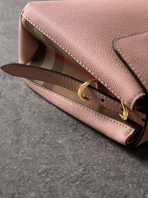 Small Grainy Leather and House Check Tote Bag in Pale Orchid - Women | Burberry United Kingdom - cell image 1