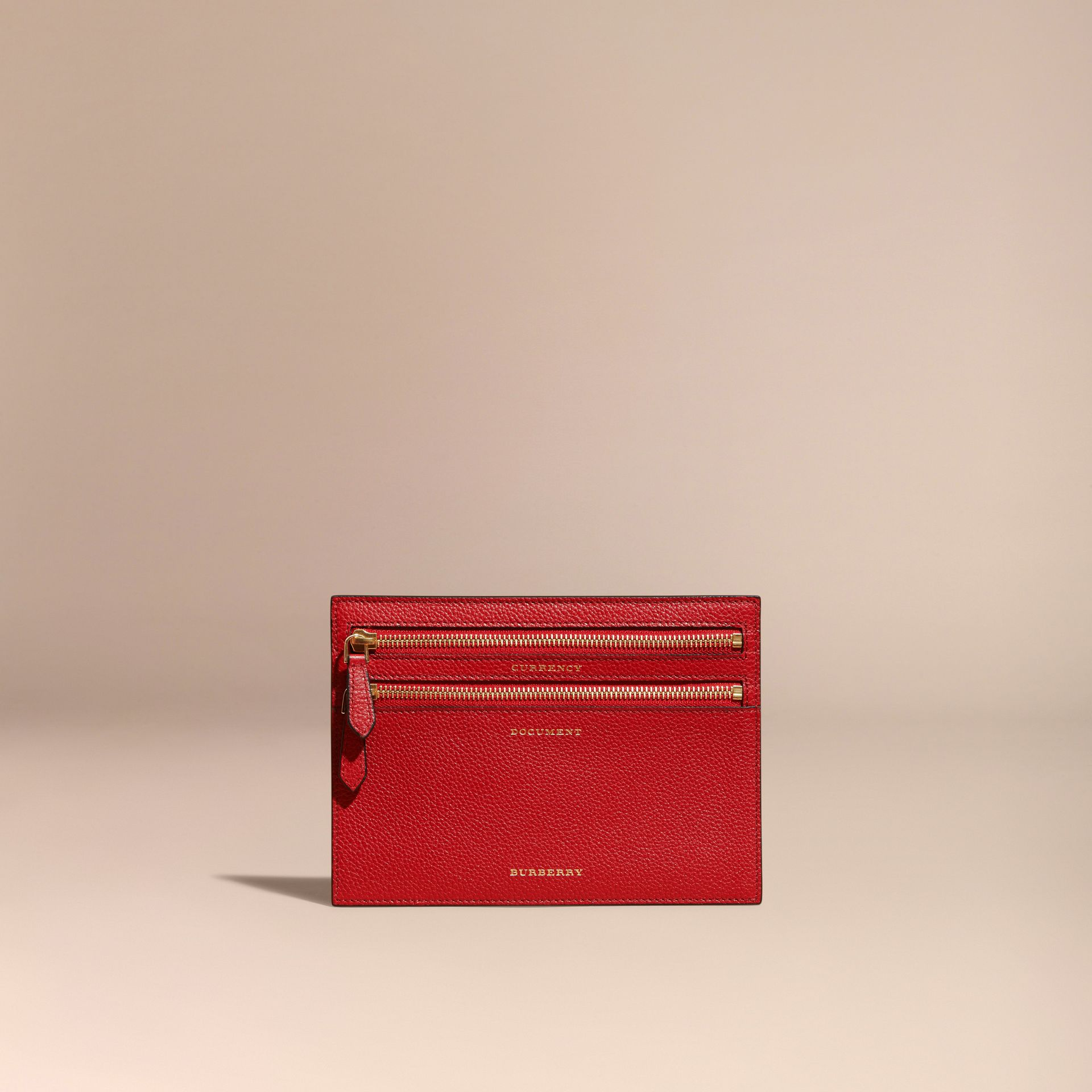 Portefeuille multidevise en cuir grené (Rouge Parade) | Burberry - photo de la galerie 5
