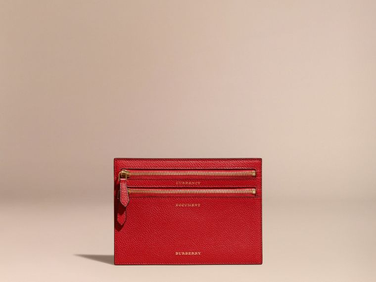 Grainy Leather Currency Wallet in Parade Red | Burberry - cell image 4