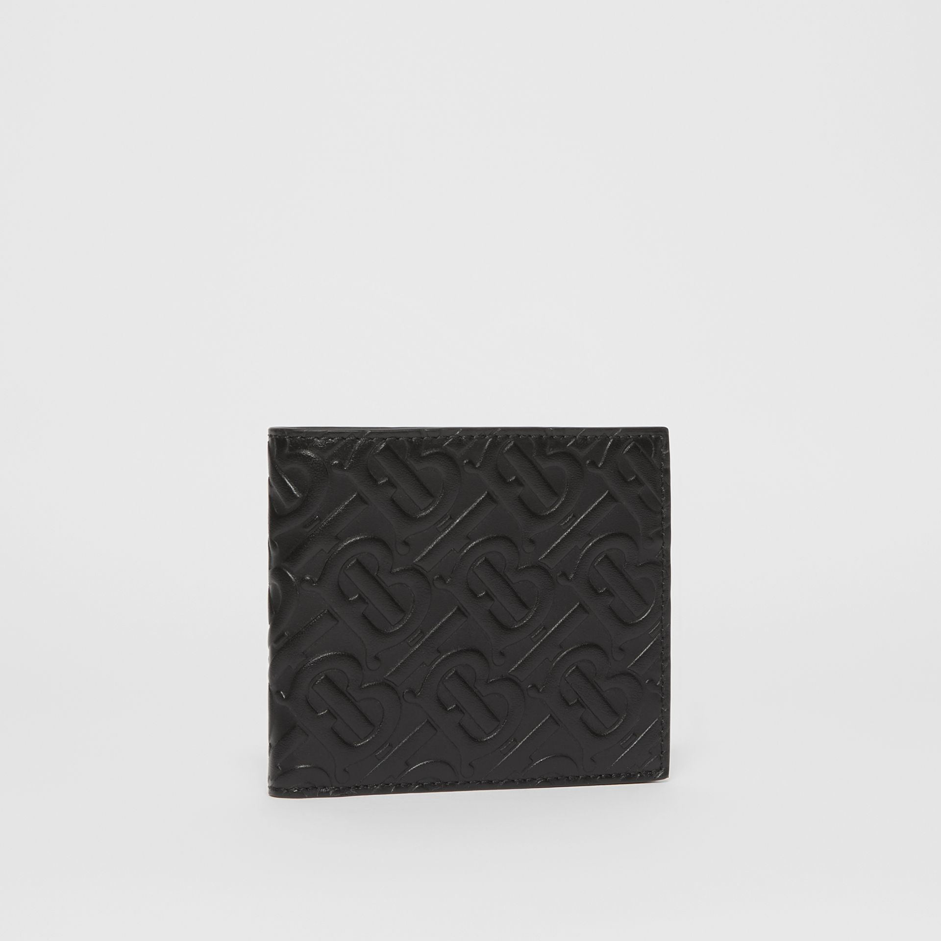 Monogram Leather International Bifold Wallet in Black - Men | Burberry United Kingdom - gallery image 3
