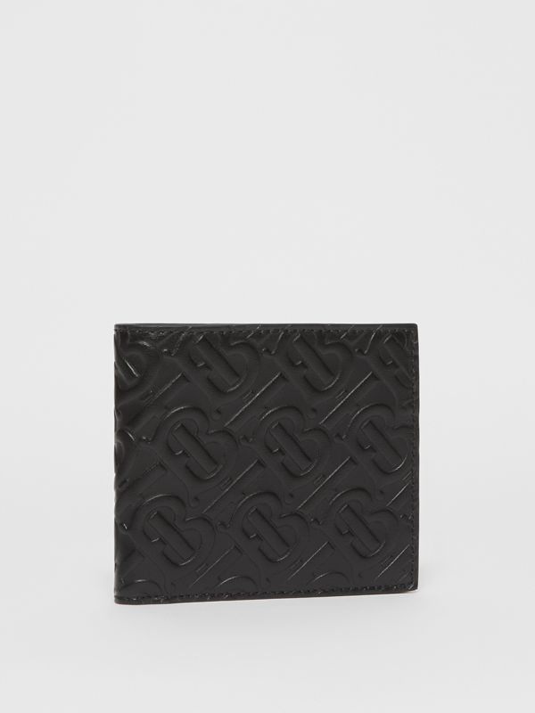 Monogram Leather International Bifold Wallet in Black - Men | Burberry United States - cell image 3