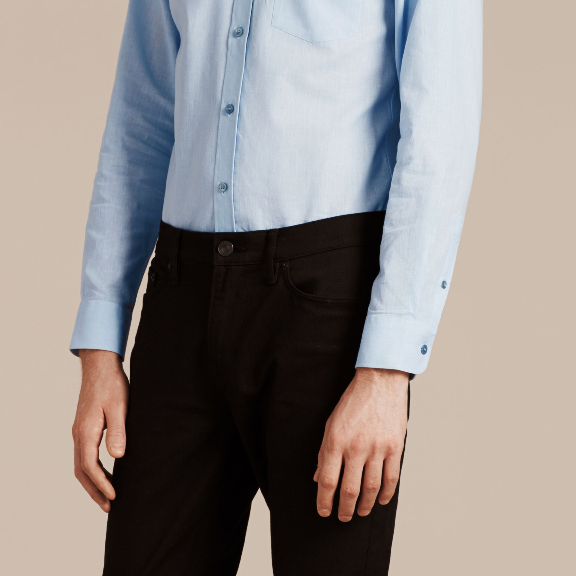 Pale blue Button-down Collar Cotton Linen Shirt Pale Blue - gallery image 5