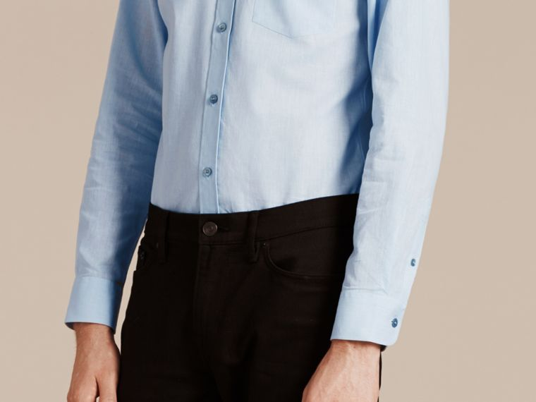 Pale blue Button-down Collar Cotton Linen Shirt Pale Blue - cell image 4