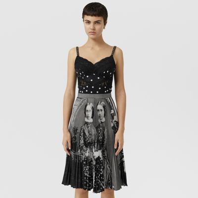 Polka Dot And Victorian Portrait Print Dress by Burberry