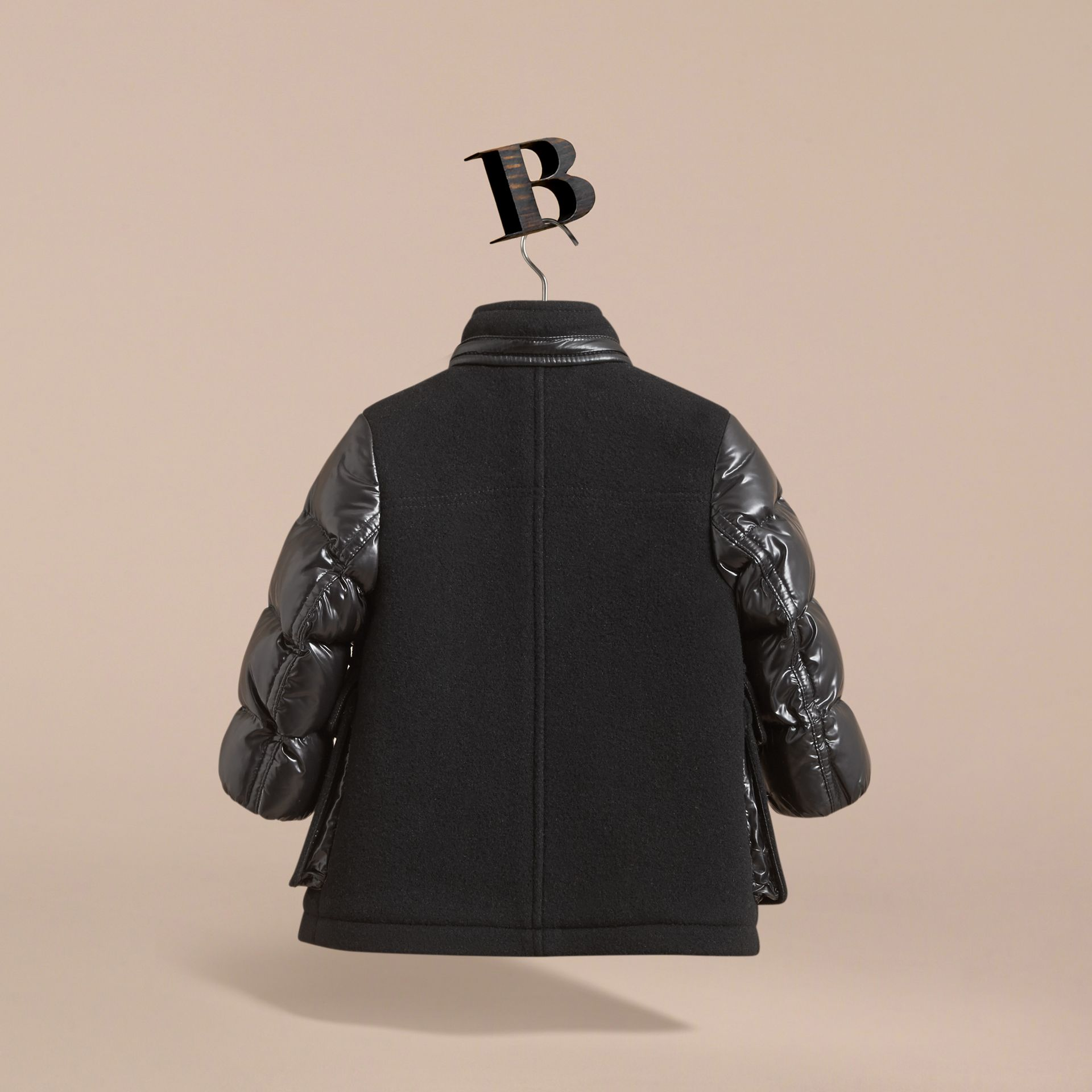 Detachable Hood Down-filled Wool Blend Duffle Coat in Black | Burberry - gallery image 4