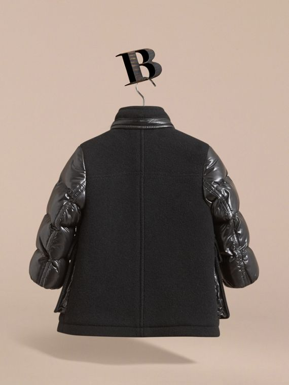 Detachable Hood Down-filled Wool Blend Duffle Coat in Black | Burberry - cell image 3