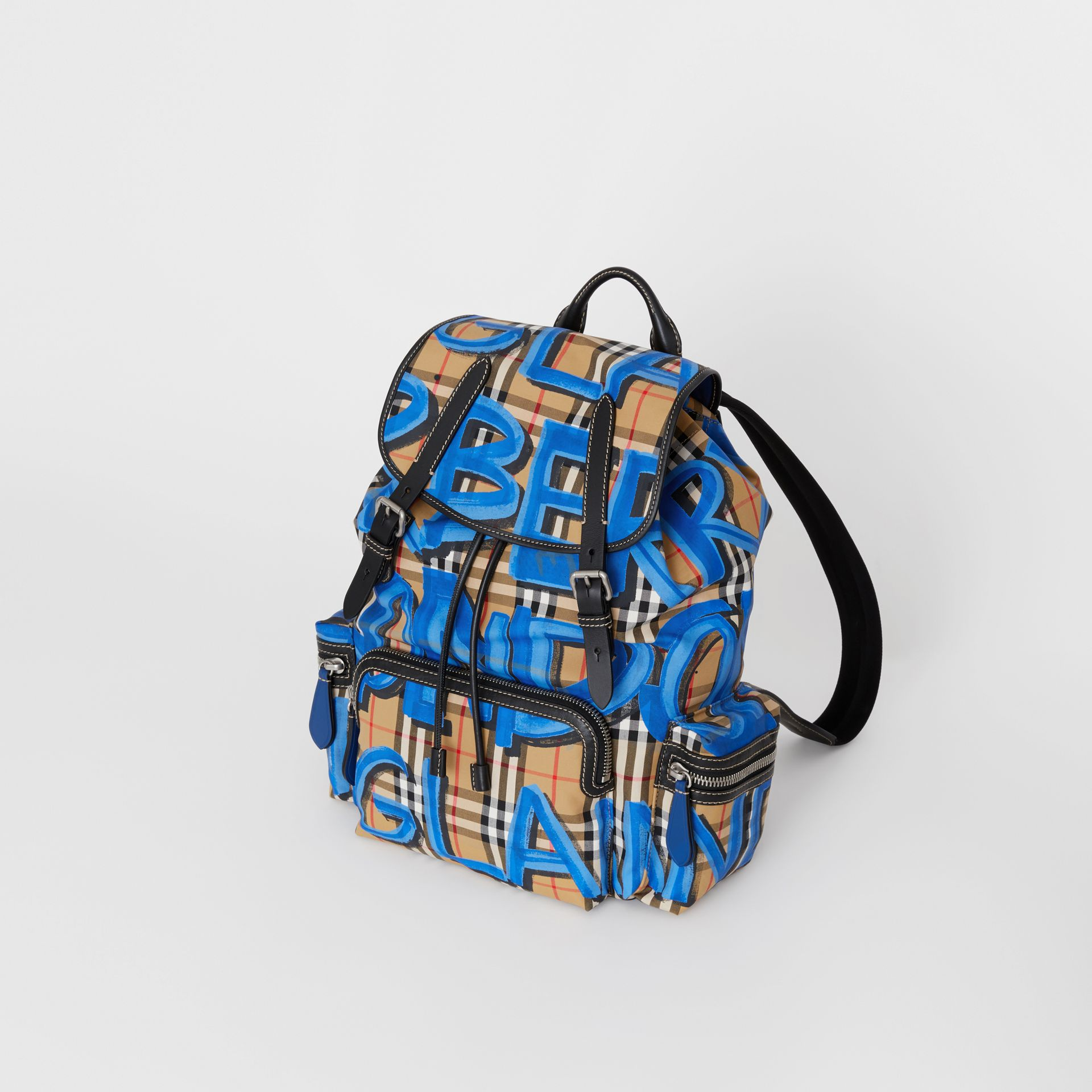 The Large Rucksack in Graffiti Print Vintage Check in Canvas Blue/antique Yellow | Burberry - gallery image 0