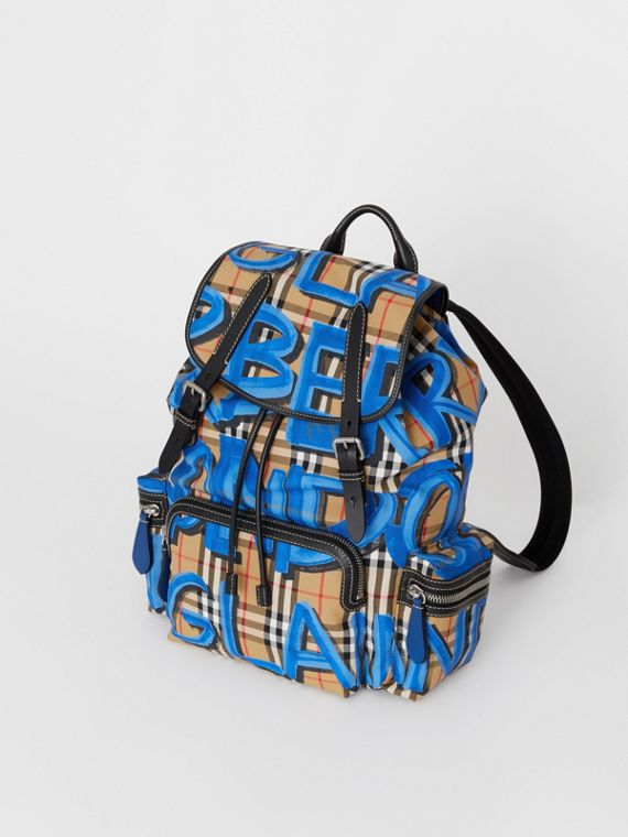 The Large Rucksack in Graffiti Print Vintage Check in Canvas Blue/antique Yellow