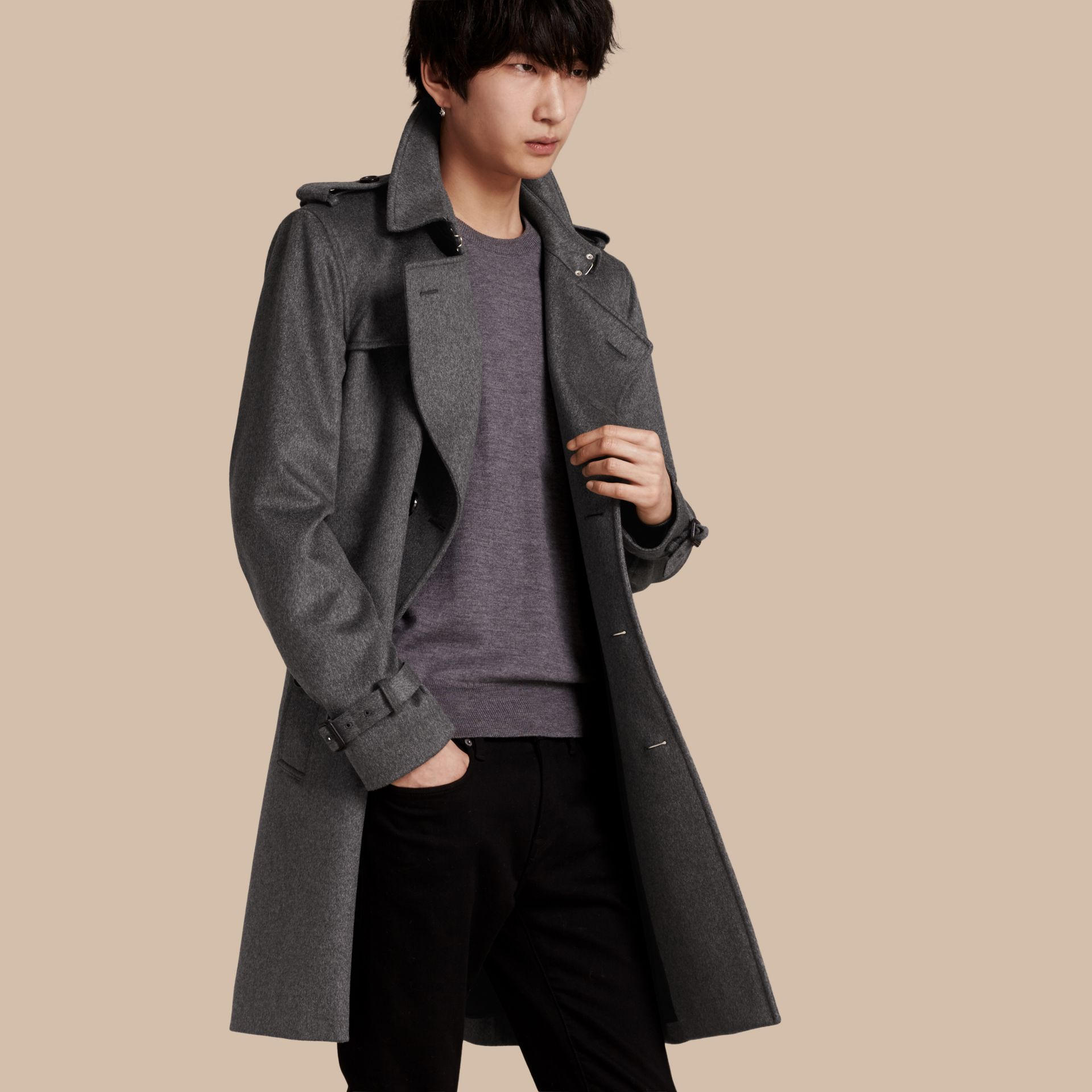 Cashmere Trench Coat in Dark Grey Melange - Men | Burberry - gallery image 1