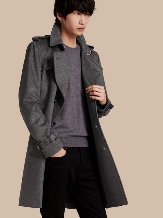 Cashmere Trench Coat Dark Grey Melange