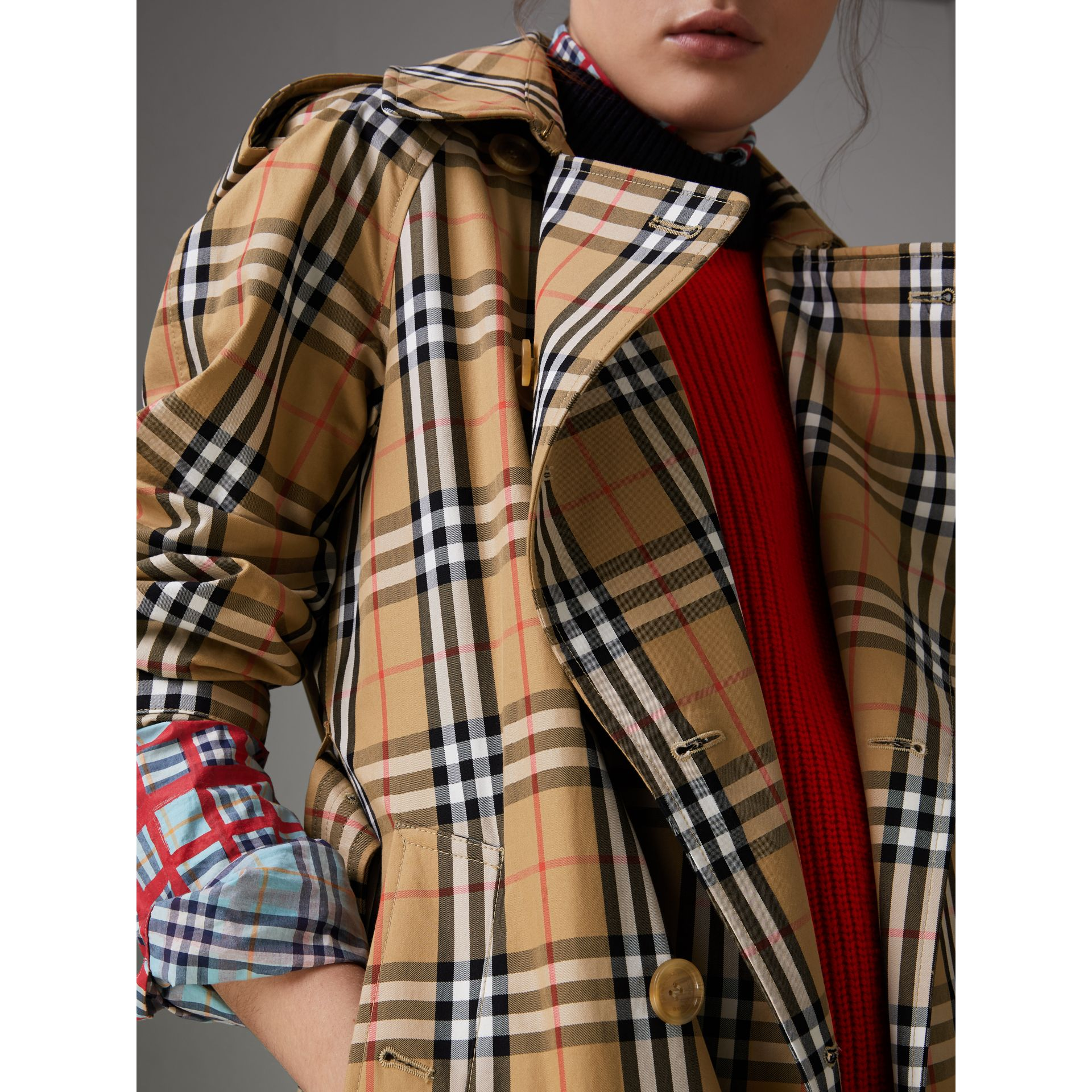 Vintage Check Cotton Trench Coat in Antique Yellow - Women | Burberry - gallery image 1