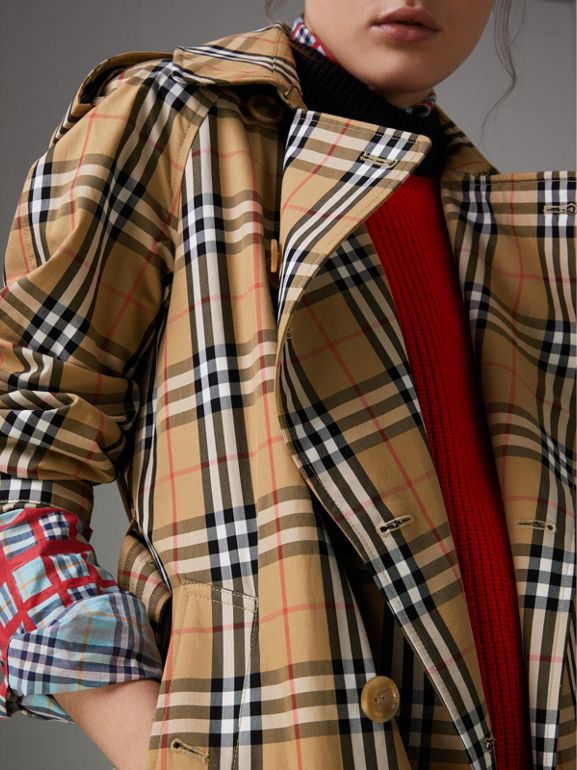 Vintage Check Cotton Trench Coat in Antique Yellow - Women | Burberry Hong Kong - cell image 1