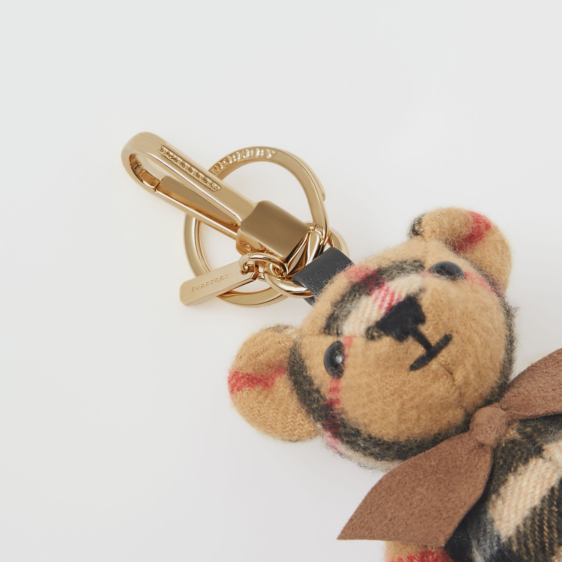 Thomas Bear Charm in Vintage Check Cashmere in Antique Yellow | Burberry United Kingdom - gallery image 1